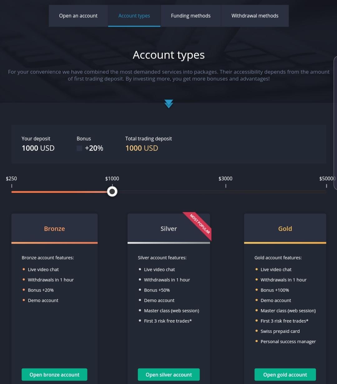 Binarymate account types