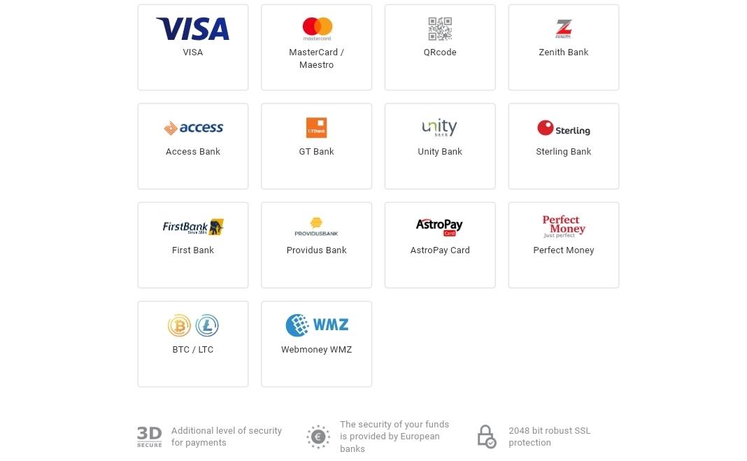Binomo payment methods